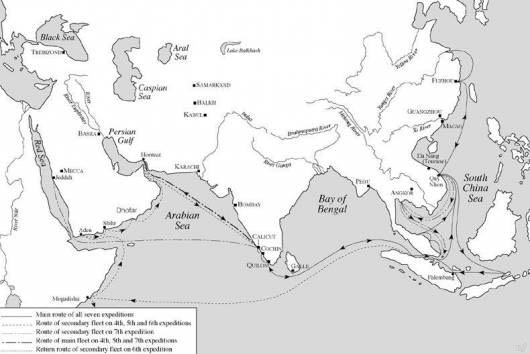 Карта морских походов флота Китая